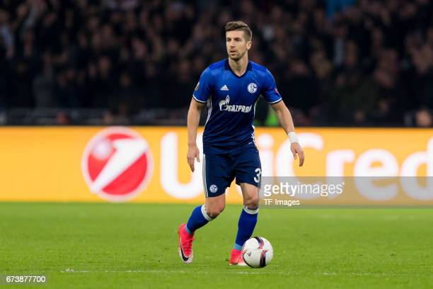 Matija Nastasic of Schalke controls the ball during the UEFA Europa League Quarter Final first leg match between Ajax Amsterdam and FC Schalke 04 at...