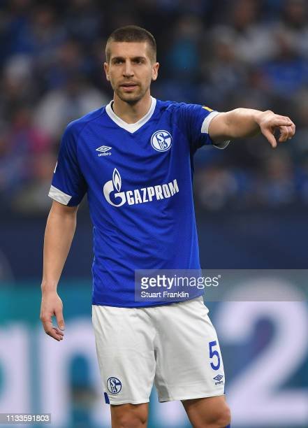 Matija Nastasic of Schalke gestures during the Bundesliga match between FC Schalke 04 and Fortuna Duesseldorf at VeltinsArena on March 02 2019 in...
