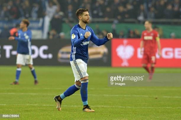 Matija Nastasic of Schalke gestures during the Bundesliga match between FC Schalke 04 and 1 FC Koeln at VeltinsArena on December 19 2017 in...