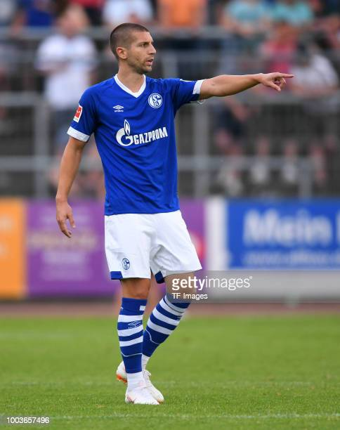 Matija Nastasic of Schalke gestures during the Friendly match between Schwarz Weiss Essen and FC Schalke 04 on July 21 2018 in Essen Germany