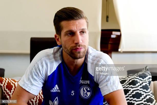 Matija Nastasic of Schalke gives an interview during the FC Schalke 04 training camp at Hotel Melia Villaitana on January 05 2018 in Benidorm Spain