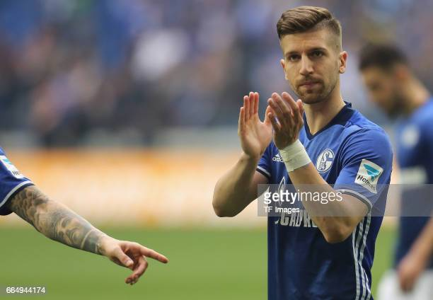 Matija Nastasic of Schalke klatscht nach dem Spiel vor den Fans looks on during the Bundesliga match between FC Schalke 04 and Borussia Dortmund at...