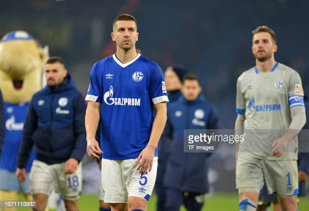 Matija Nastasic of Schalke looks dejected during the Bundesliga match between FC Schalke 04 and Borussia Dortmund at VeltinsArena on December 8 2018...