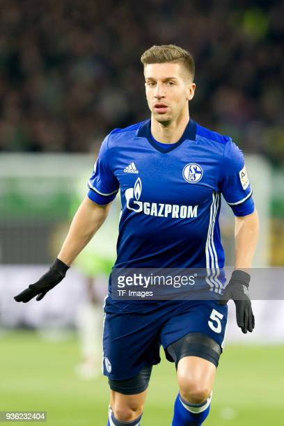 Matija Nastasic of Schalke looks on during the Bundesliga match between VfL Wolfsburg and FC Schalke 04 at Volkswagen Arena on March 17 2018 in...