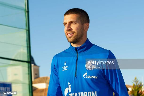 Matija Nastasic of Schalke looks on during the FC Schalke 04 training camp at Hotel Melia Villaitana on January 6 2019 in Benidorm Spain