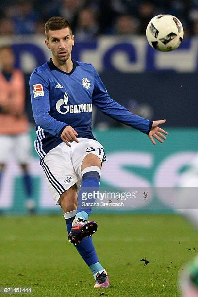 Matija Nastasic of Schalke plays the ball during the Bundesliga match between FC Schalke 04 and Werder Bremen at VeltinsArena on November 6 2016 in...