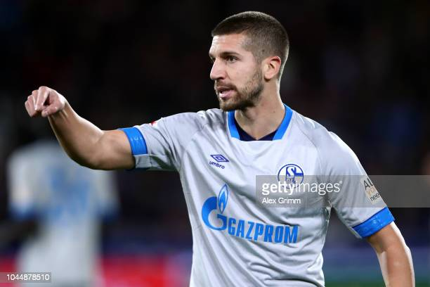 Matija Nastasic of Schalke reacts during the Bundesliga match between SportClub Freiburg and FC Schalke 04 at SchwarzwaldStadion on September 25 2018...