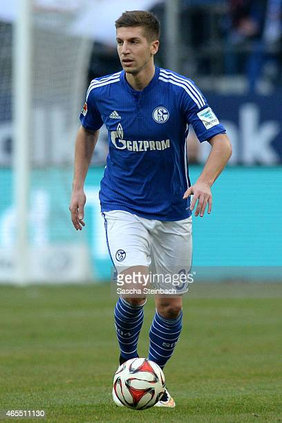 Matija Nastasic of Schalke runs with the ball during the Bundesliga match between FC Schalke 04 and 1899 Hoffenheim at Veltins Arena on March 7 2015...