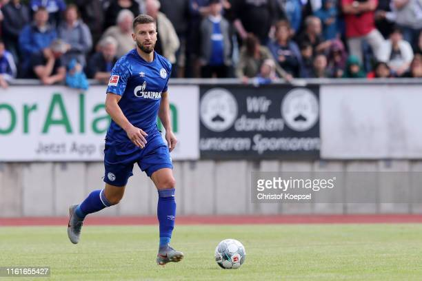 Matija Nastasic of Schalke runs with the ball during the preseason friendly match between Stadtauswahl Bottrop and FC Schalke 04 at Jahnstadion on...