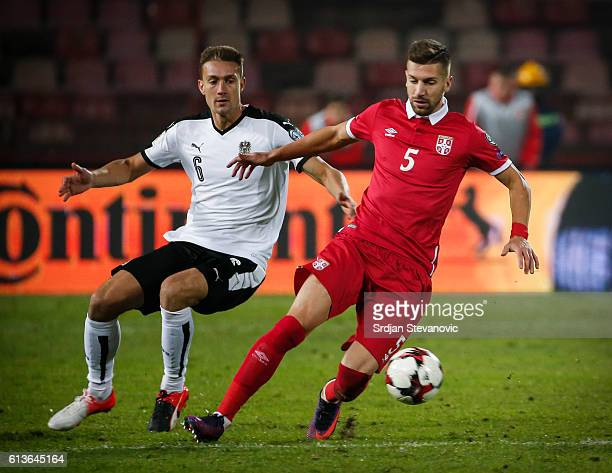 Matija Nastasic of Serbia in action against Stefan Ilsanker of Austria during the FIFA 2018 World Cup Qualifier between Serbia and Austria at stadium...