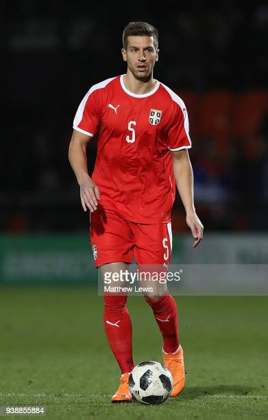Matija Nastasic of Serbia in action during the International Friendly match between Nigeria and Serbia at The Hive on March 27 2018 in Barnet England