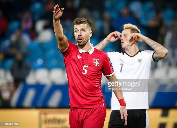Matija Nastasic of Serbia reacts during the FIFA 2018 World Cup Qualifier between Serbia and Austria at stadium Rajko Mitic on October 9 2016 in...