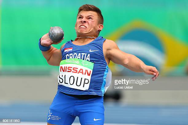 Matija Sloup of Croatia competes in Men's Shot Put F40 during day 9 of the Rio 2016 Paralympic Games at the Olympic Stadium on September 16 2016 in...