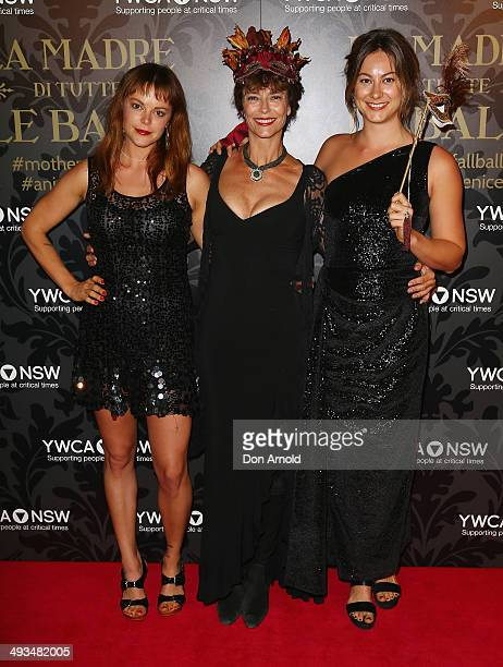 Matilda Brown, Rachel Ward and Rosie Brown arrive at the YMCA Mother of All Balls at Sydney Town Hall on May 24, 2014 in Sydney, Australia.