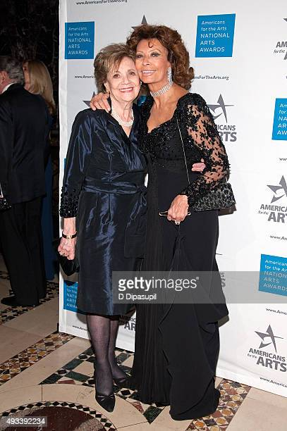 Matilda Cuomo and Sophia Loren attend the 2015 National Arts Awards at Cipriani 42nd Street on October 19, 2015 in New York City.