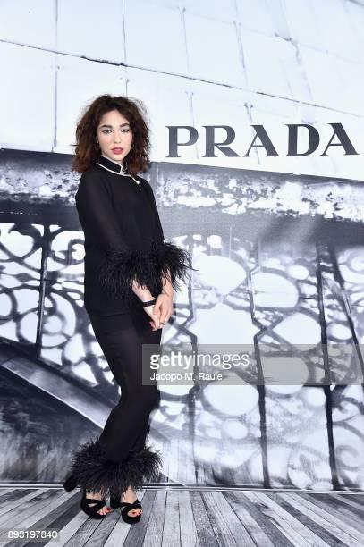 Matilda De Angelis attends the cocktail reception to present Prada Resort 2018 collection on December 14th 2017 in Prada's Via dei Condotti stores...