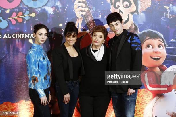 Matilda De Angelis Valentina Lodovini Mara Maionchi and Michele Bravi attend 'Coco' photocall at Hotel De Russie on November 20 2017 in Rome Italy