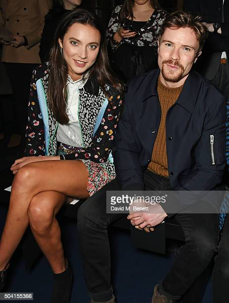 Matilda Lowther and Joe Dempsie attends the Coach FW16 show front row during London Collections Men at The Lindley Hall on January 9 2016 in London...