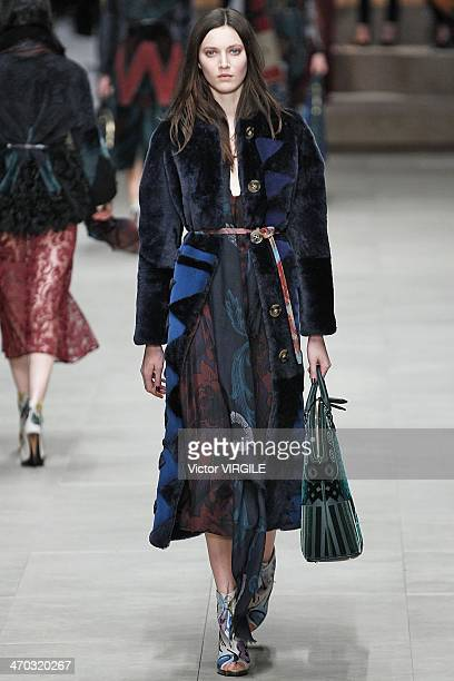 Matilda Lowther walks the runway at the Burberry Prorsum Ready to Wear Fall/Winter 20142015 show at London Fashion Week AW14 at Perks Fields...