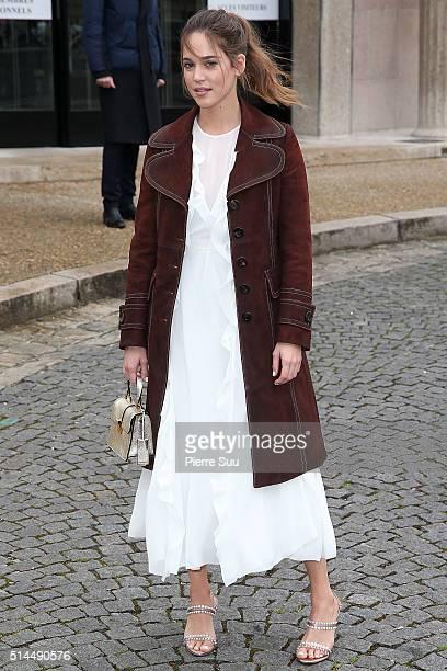 Matilda Lutz arrives at the Miu Miu show as part of the Paris Fashion Week Womenswear Fall/Winter 2016/2017 on March 9, 2016 in Paris, France.