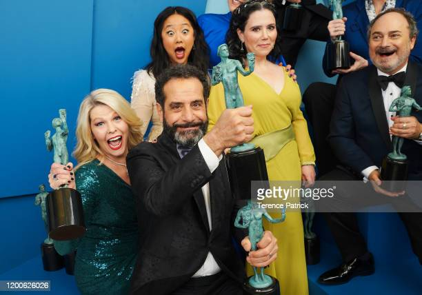 Matilda Szydagis Tony Shalhoub Stephanie Hsu Alex Borstein and Kevin Pollak winners of the Outstanding Performance by an Ensemble in a Comedy Series...