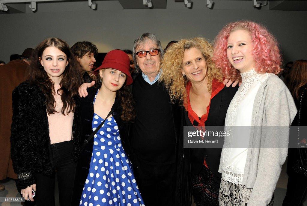 Matilda Wyman, Jessica Wyman, Bill Wyman, Suzanne Wyman and Katherine Wyman attend a private view of Bill Wyman's new exhibit 'Reworked' at Rook & Raven Gallery on February 26, 2013 in London, England.