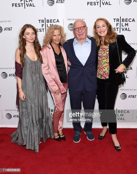 Matilda Wyman Suzanne Wyman Rupert Murdoch and Jerry Hall attend the The Quiet One screening at the 2019 Tribeca Film Festival at SVA Theater on May...