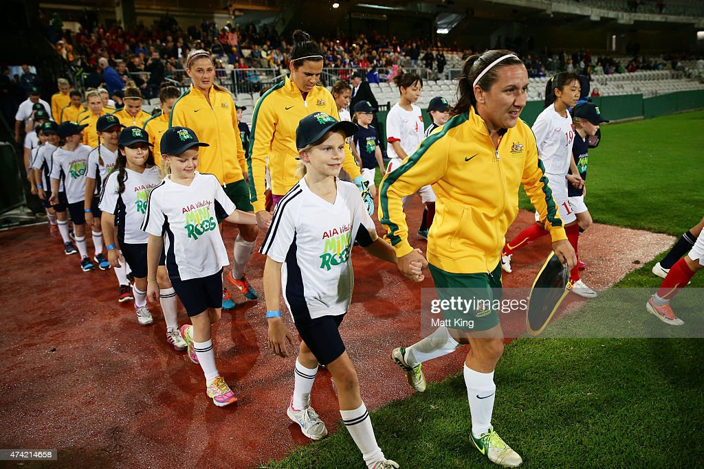 Matildas captain Lisa De Vanna leads out the team during the international women's friendly match between the Australian Matildas and Vietnam at WIN Jubilee Stadium on May 21, 2015 in Sydney, Australia.