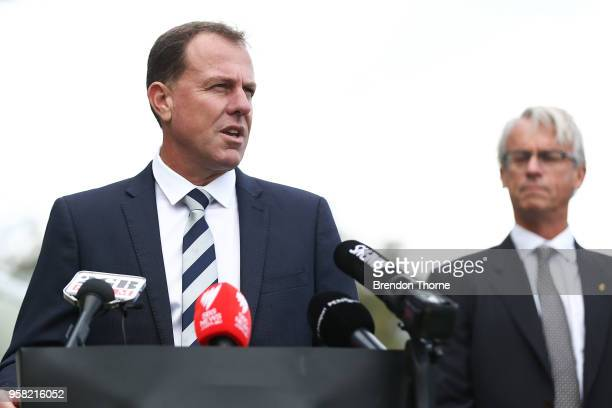 Matildas Coach Alen Stajcic addresses the media during the FFA Elite Women's Football Program Launch at Valentine Sports Park on May 14 2018 in...