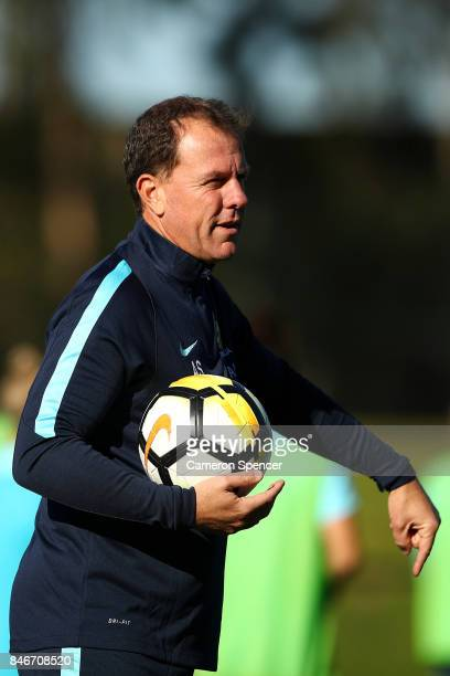 Matildas coach Alen Stajcic directs players during a Matildas training session on September 14 2017 in Sydney Australia
