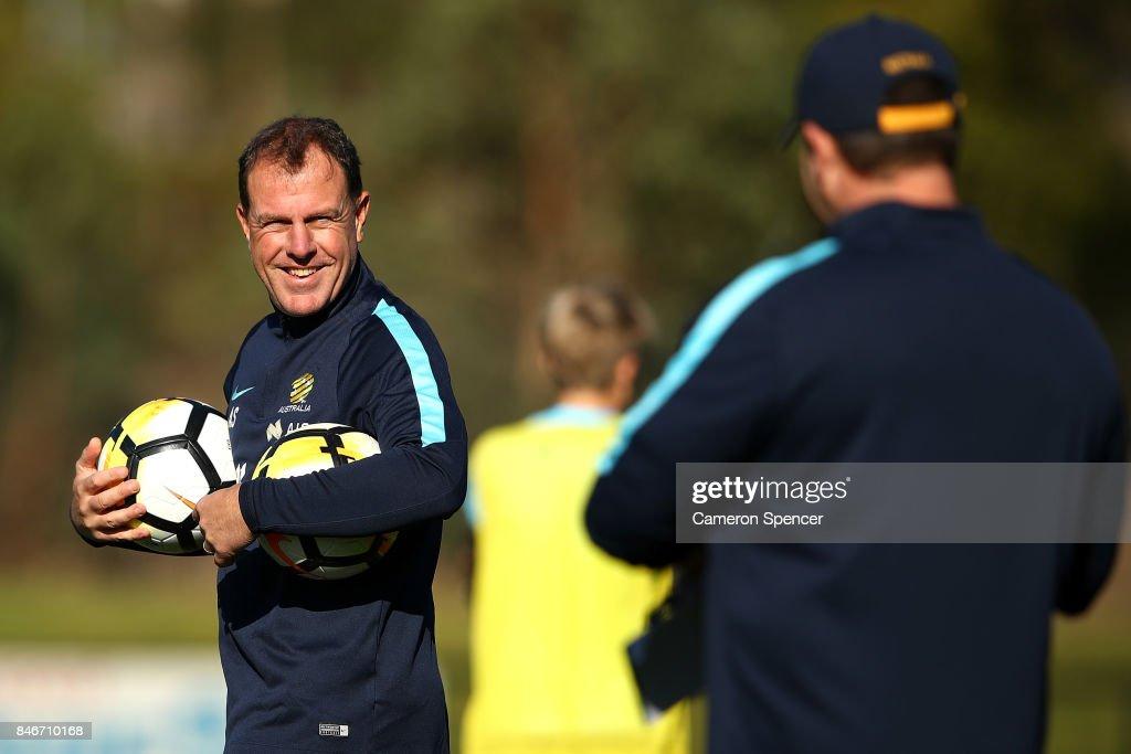 Matildas coach Alen Stajcic directs players during a Matildas training session on September 14, 2017 in Sydney, Australia.