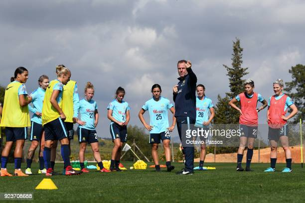 Matildas coach Alen Stajcic directs players during a Matildas training session on February 24 2018 in Faro Portugal