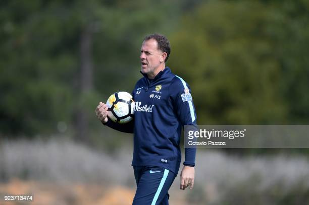 Matildas coach Alen Stajcic during a Matildas training session on February 24 2018 in Faro Portugal
