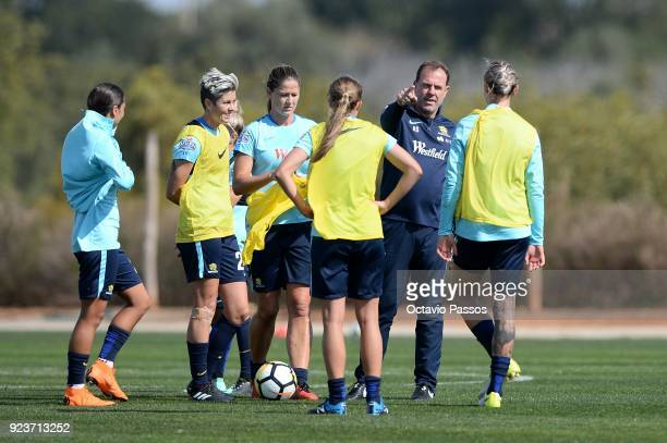 Matildas coach Alen Stajcic give instructions during a Matildas training session on February 24 2018 in Faro Portugal
