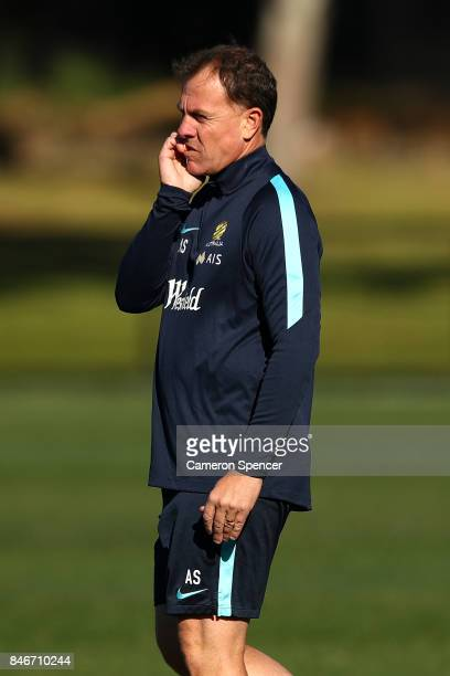Matildas coach Alen Stajcic looks on during a Matildas training session on September 14 2017 in Sydney Australia