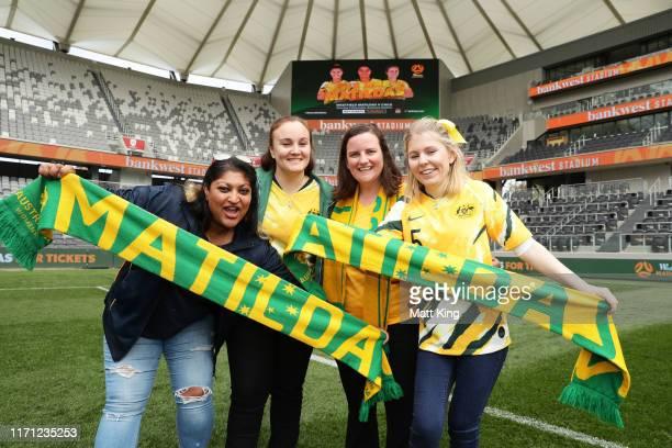 Matildas fans pose during a Matildas media opportunity at Bankwest Stadium on August 31, 2019 in Sydney, Australia.