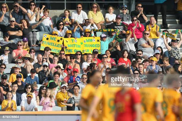 Matildas fans show their support during the Women's International match between the Australian Matildas and China PR at Simonds Stadium on November...