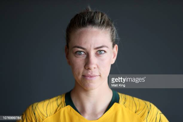 Matildas player Alanna Kennedy poses during a media opportunity after the FFA announcement of the national team rebranding at the Overseas Passenger...