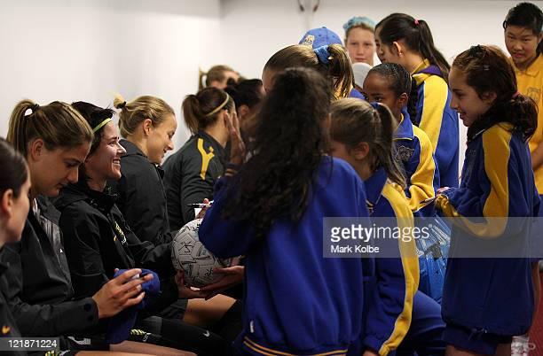 Matildas players sign autographs for children from Calton South Public School before an Australian Matildas training session at WIN Jubilee Stadium...