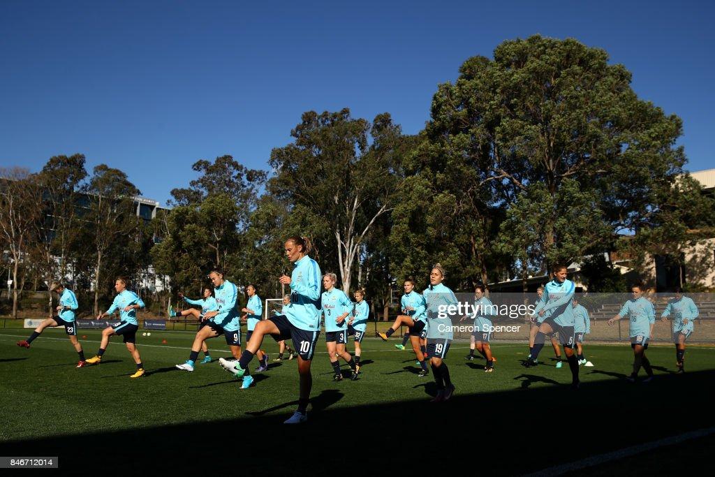 Matildas players warm up during a Matildas training session on September 14, 2017 in Sydney, Australia.