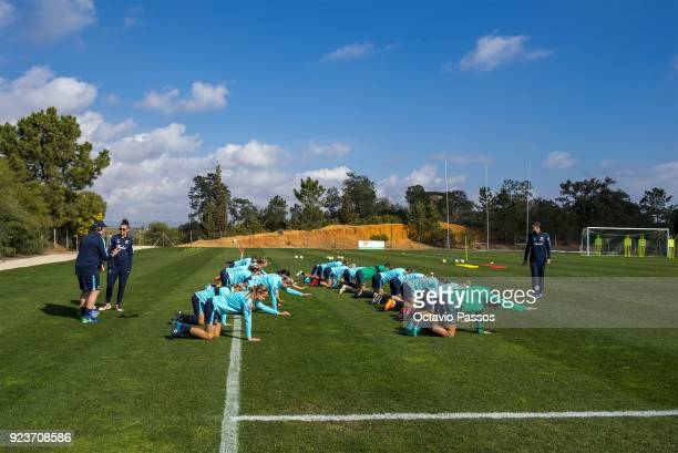 Matildas players warm up during a Matildas training session on February 24 2018 in Faro Portugal