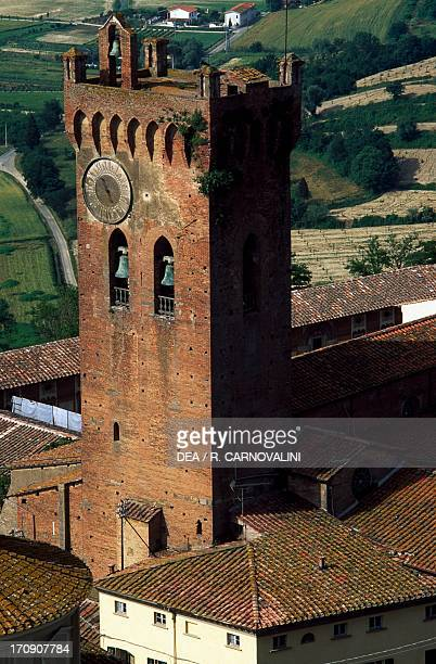 Matilda's Tower, Romanesque-style bell tower next to the Cathedral of St Mary of the Assumption and St Jenesien, San Miniato, Tuscany, Italy.