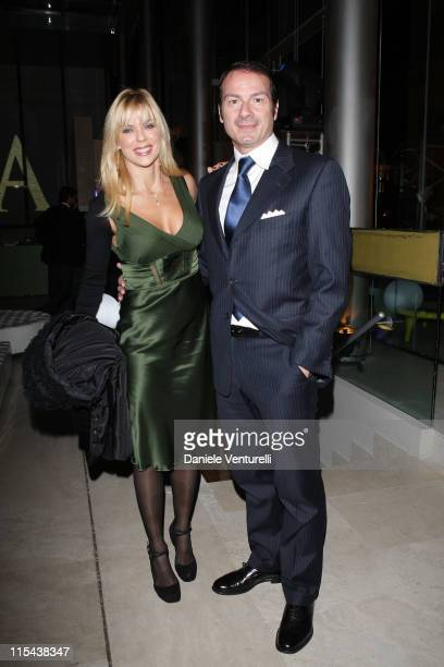 Matilde Brandi and Marco Costantini attend the Belstaff after party of I Am Legend at Roof Palazzo delle Esposizioni on January 9 2008 in Rome Italy