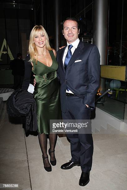 Matilde Brandi and Marco Costantini attend the Belstaff after party of I Am A Legend at Roof Palazzo delle Esposizioni on January 9 2008 in Rome Italy