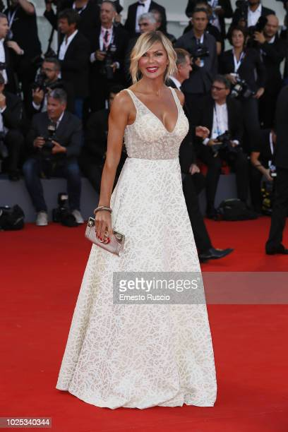 Matilde Brandi walks the red carpet ahead of the 'Roma' screening during the 75th Venice Film Festival at Sala Grande on August 30 2018 in Venice...