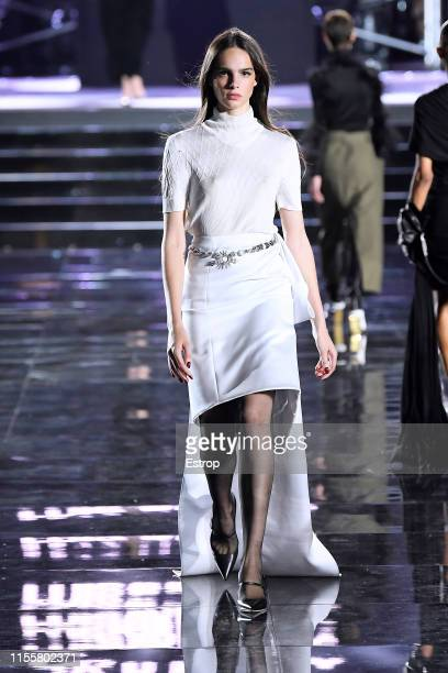 Matilde Buoso walks the CR Runway x LuisaViaRoma at Piazzale Michelangelo during the Pitti Immagine Uomo 96 on June 13 2019 in Florence Italy