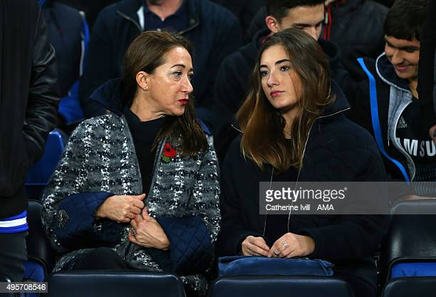 Matilde Faria and Matilde the wife and daughter of Jose Mourinho Manager of Chelsea before the UEFA Champions League Group G match between Chelsea...
