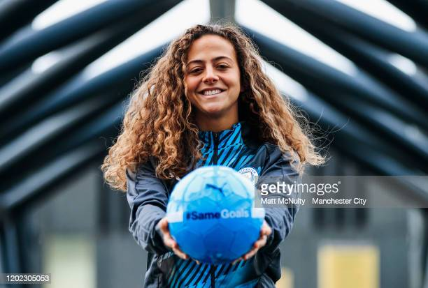Matilde Fidalgo of Manchester City Women poses for a portrait to be used in conjunction with the Manchester City #SameGoals campaign aimed to inspire...