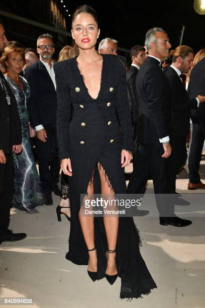 Matilde Gioli arrives at the dinner after the Opening Ceremony during the 74th Venice Film Festival at Excelsior Hotel on August 30 2017 in Venice...