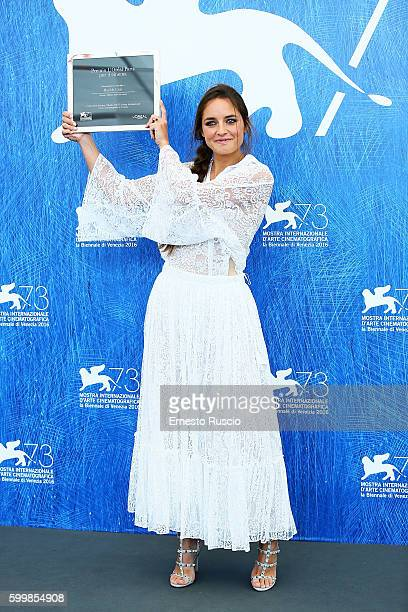 Matilde Gioli attends the photocall of L'Oreal Paris Award For The Cinema during the 73rd Venice Film Festival at Palazzo del Casino on September 7...
